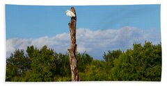 White Crane On A Dead Tree, Boynton Bath Towel