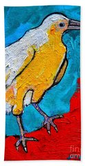 Hand Towel featuring the painting White Crow by Ana Maria Edulescu