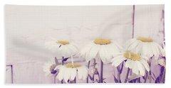 White Daisy Mums Hand Towel