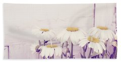 White Daisy Mums Bath Towel