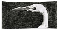 White Egret Art - The Great One - By Sharon Cummings Bath Towel