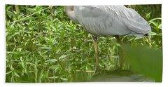 White Egret Double  Bath Towel by Susan Garren