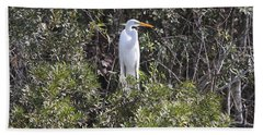 Bath Towel featuring the photograph White Egret In The Swamp by Christiane Schulze Art And Photography