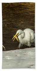 White Egret Snowy Bank Hand Towel by Robert Frederick