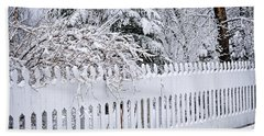 White Fence With Winter Trees Bath Towel