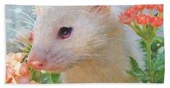 White Ferret Hand Towel by Jane Schnetlage