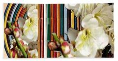 White Flower Medley Colorful Rainbow Stripes On The Backdrop Artist Navinjoshi  Bath Towel by Navin Joshi