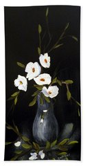Hand Towel featuring the painting White Flowers In A Vase by Dorothy Maier