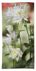 White Frilly Columbines Bath Towel