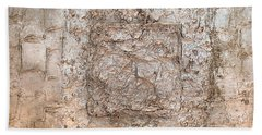 White Gold Mixed Media Triptych Part 2 Bath Towel