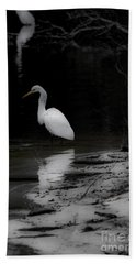 Hand Towel featuring the photograph White Heron by Angela DeFrias