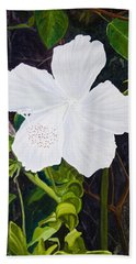 White Hibiscus Hand Towel by Mike Robles