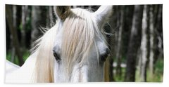 Bath Towel featuring the photograph White Horse Close Up by Jocelyn Friis
