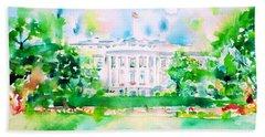 White House - Watercolor Portrait Bath Towel