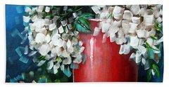 White Hydrangeas Hand Towel