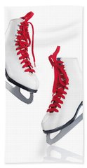 White Ice Skates With Red Laces Bath Towel