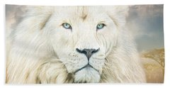Bath Towel featuring the mixed media White Lion - Spirit Of Goodness by Carol Cavalaris