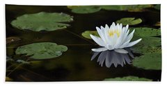 Hand Towel featuring the photograph White Lotus Lily Flower And Lily Pad by Glenn Gordon