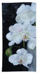 Hand Towel featuring the painting White Orchid by Judith Rhue