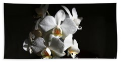 Bath Towel featuring the photograph White Orchids by Jeremy Hayden