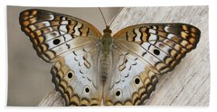 White Peacock Butterfly Hand Towel by Judy Whitton