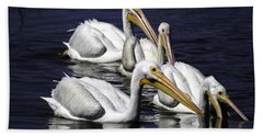 White Pelicans Fishing Hand Towel