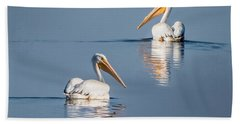 Hand Towel featuring the photograph White Pelicans by Patti Deters