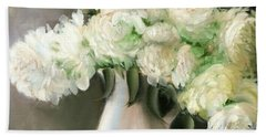 White Peonies Bath Towel