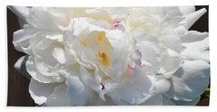 White Peony Hand Towel by Tine Nordbred