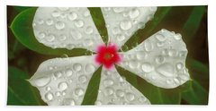 Hand Towel featuring the photograph White Periwinkle by Mark Greenberg