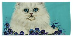 Hand Towel featuring the painting White Persian In Pansy Patch Original Forsale by Bob and Nadine Johnston