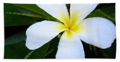 Hand Towel featuring the mixed media White Plumeria by Anthony Fishburne