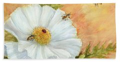 White Poppy And Bees Hand Towel