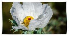 White Prickly Poppy Wildflower Bath Towel by Debra Martz