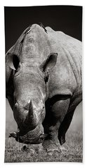 White Rhinoceros  In Due-tone Hand Towel