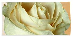 Bath Towel featuring the photograph White Rose On Sepia by Nina Silver