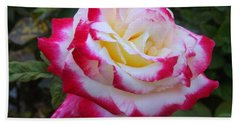 White Rose With Pink Texture Hybrid Hand Towel by Lingfai Leung