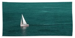 White Sailboat Bath Towel