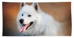 White Samoyed Portrait Bath Towel
