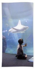 White Shark And Young Boy Hand Towel