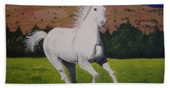 Hand Towel featuring the painting White Stallion by Norm Starks