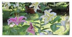 White Stargazers Lilies Bath Towel