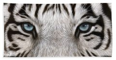 White Tiger Eyes Painting Hand Towel by Rachel Stribbling