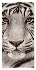 White Tiger Painting Bath Towel