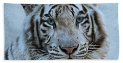 White Tiger Hand Towel by Sandy Keeton