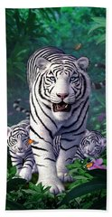 White Tigers Hand Towel