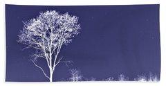 White Tree - Blue Sky - Silver Stars Bath Towel