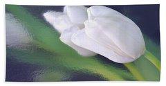 White Tulip Reflected In Dark Blue Water Bath Towel