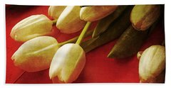 White Tulips Over Red Hand Towel