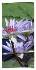 White Waterlilies Bath Towel by Chrisann Ellis